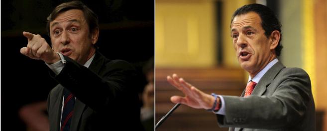 Rafael Hernando y Rafael Merino, en dos intervenciones en el Congreso.