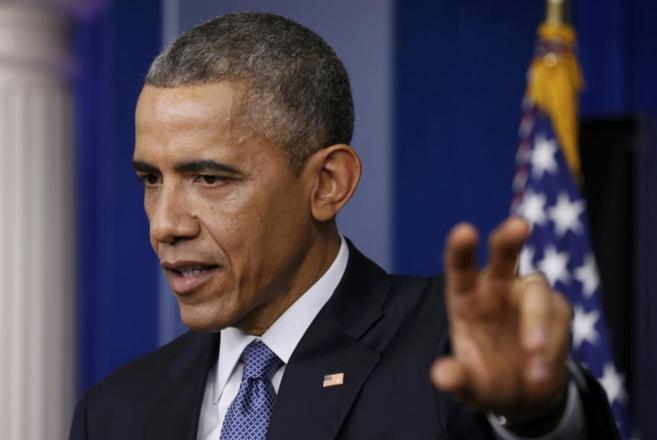 El presidente de los EEUU, Barack Obama, durante la rueda de prensa.