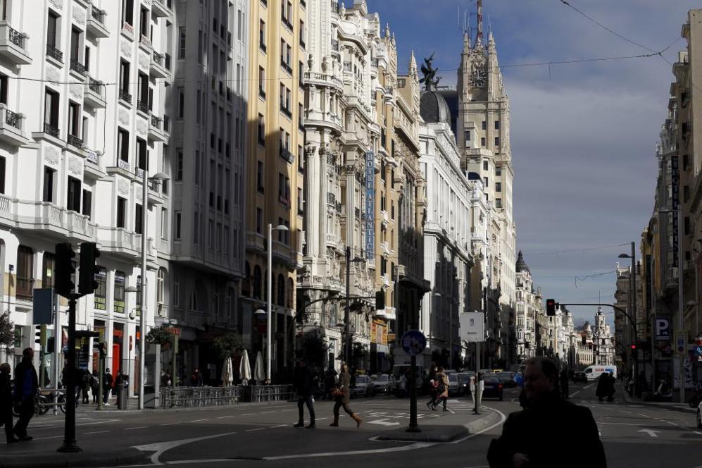 Vista de la Gran Vía de Madrid.