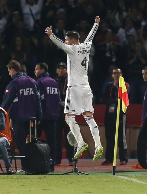 Ramos celebra su tanto ante el San Lorenzo.