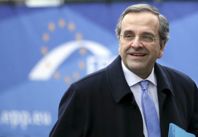 El primer ministro griego, Antonis Samaras, a su llegada a una...
