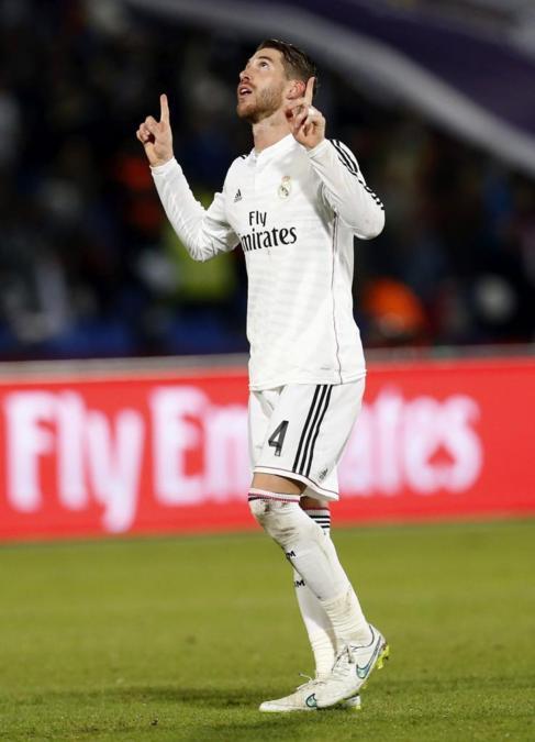 Ramos celebra su gola ante San Lorenzo.