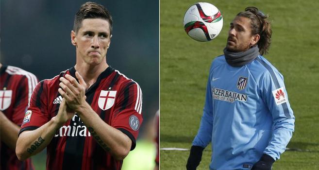 Fernando Torres (izda) y Alessio Cerci (dcha).