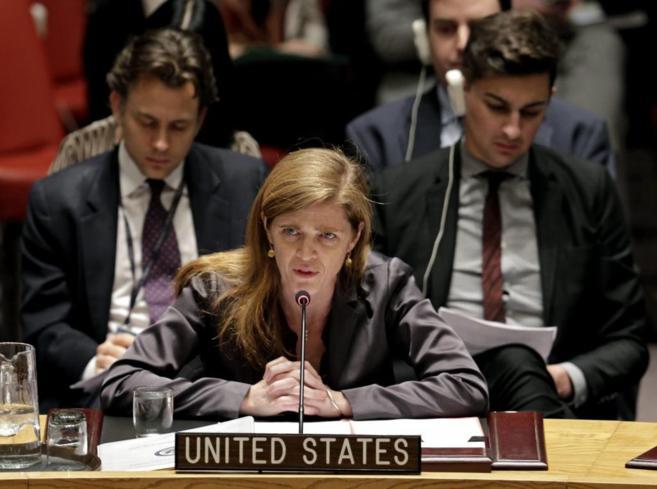 La embajadora estadounidense Samantha Power interviene durante la...