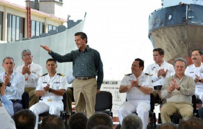 Enrique Peña Nieto durante su primer acto público del año 2015.