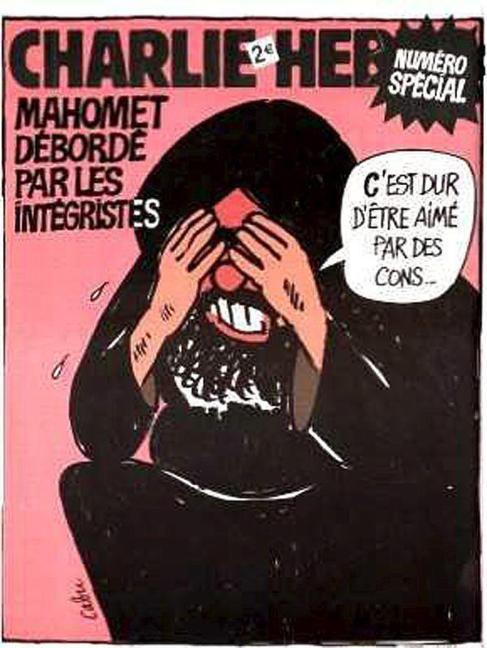 La portada de 2006, foco de la polémica, en la que Mahoma dice...
