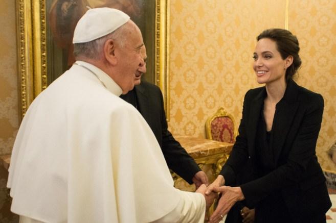 La actriz, con el Papa Francisco esta mañana.