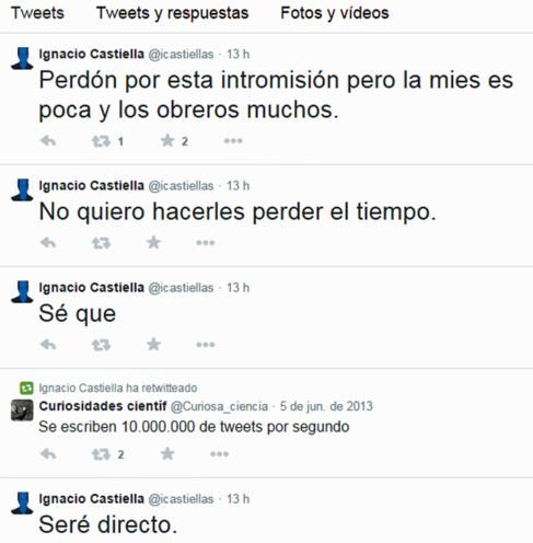 Inicio del relato en el 'timeline' de Ignacio Castiella.