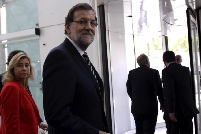Mariano Rajoy, tras su intervencion en el Congreso Mundial de la...