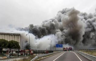 Incendio en la fábrica de Campofrío, el pasado mes de noviembre
