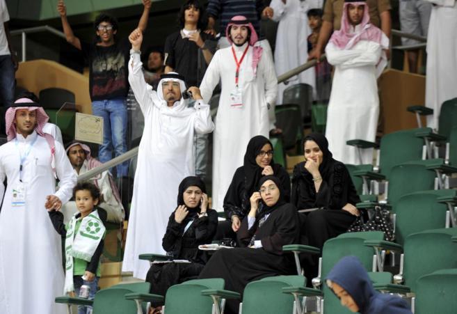 La familia real de Qatar, durante un partido de su selección
