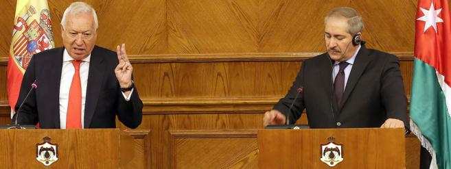 García-Margallo, junto a su homólogo jordano, Nasser Judeh, en...
