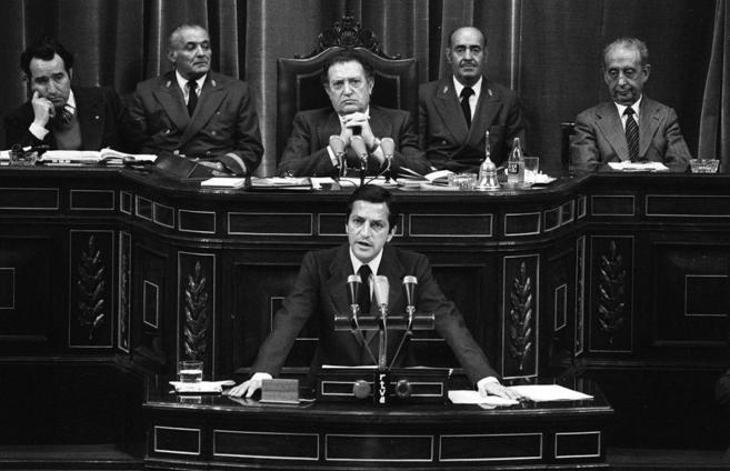 El ex presidente del Gobierno, Adolfo Suárez, en el Congreso de los...