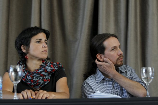 Teresa Rodríguez y Pablo Iglesias, en un acto del partido en Madrid.