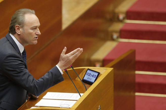 El president de la Generalitat, Alberto Fabra, durante la sesión de...