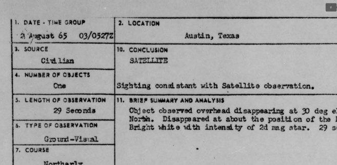 Imagen del informe sobre un OVNI en Austin en 1965.