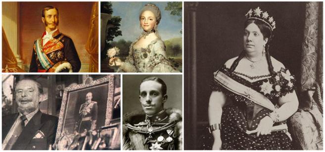 Alfonso XII, Maria Luisa de Parma, Isabel II, Leandro de Borbón y...