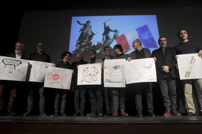 Dibujantes de varios medios, en el Instituto francés (Madrid), este...