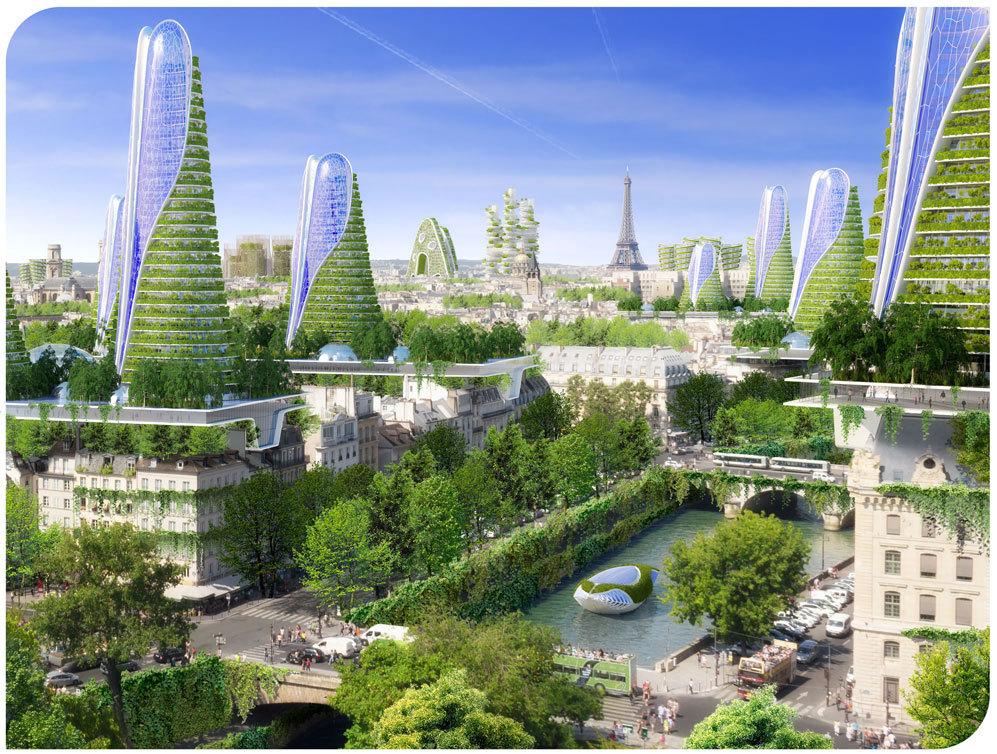 Recreación panorámica de la ciudad de París con las ocho...