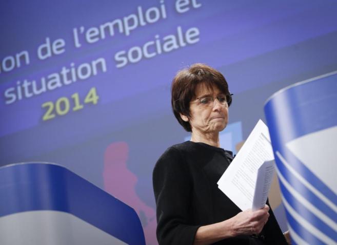 La comisaria europea de Empleo, Marianne Thyssen, durante la rueda de...