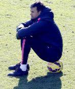Luis Enrique, en un entrenamiento en las instalaciones de Sant Joan...