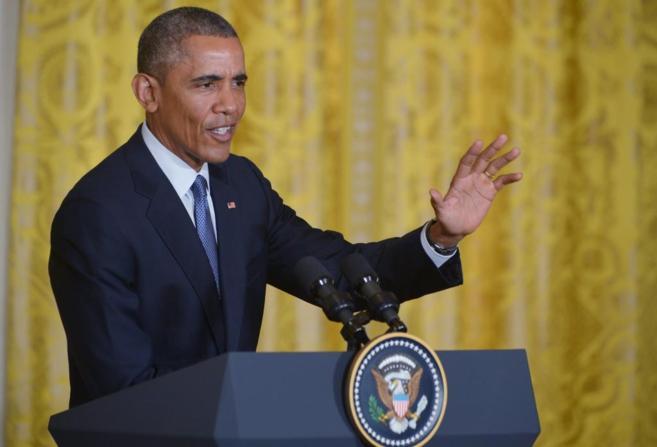 El presidente norteamericano Barack Obama durante una rueda de prensa...