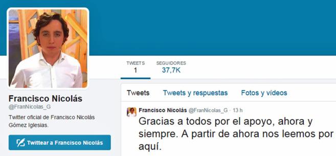 Captura de la nueva cuenta de Francisco Nicolás y su primer...