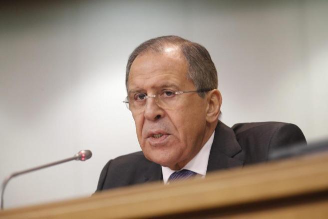 El ministro de Exteriores ruso, Sergéi Lavrov, durante una rueda de...