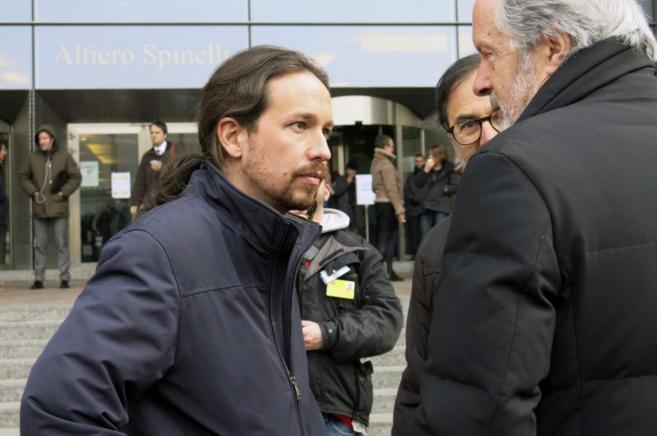 Pablo Iglesias, esta mañana en Bruselas.