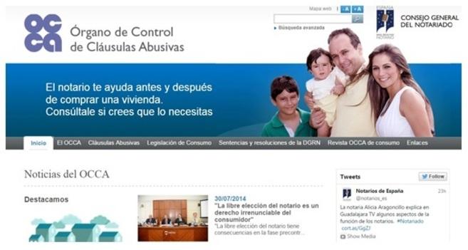 Captura de la nueva página web impulsada por el Consejo General del...