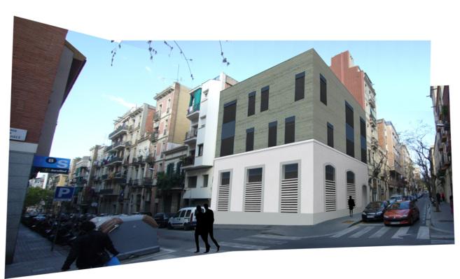 Imagen del edificio realizado con entramado ligero de madera,...