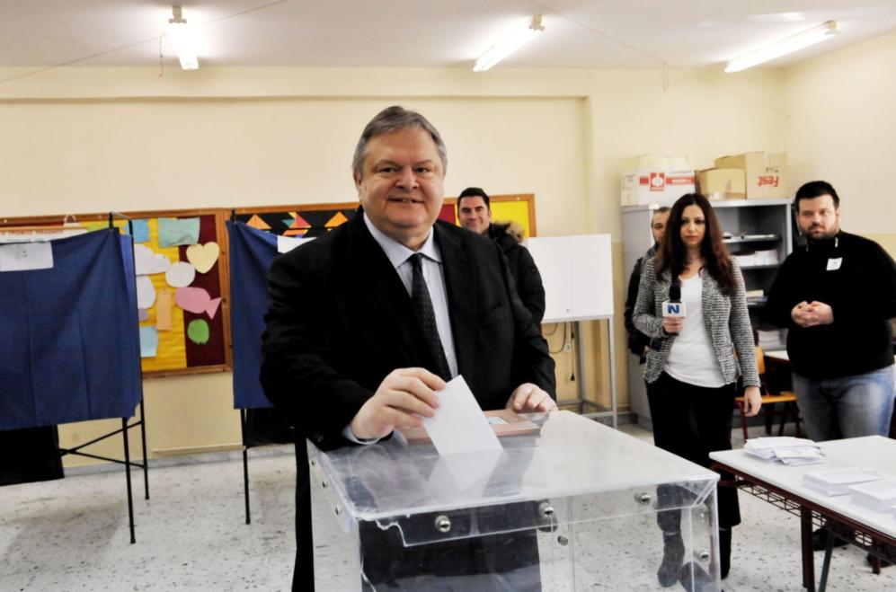 Evangelos Venizelos, líder del PASOK, el partido de los socialistas...