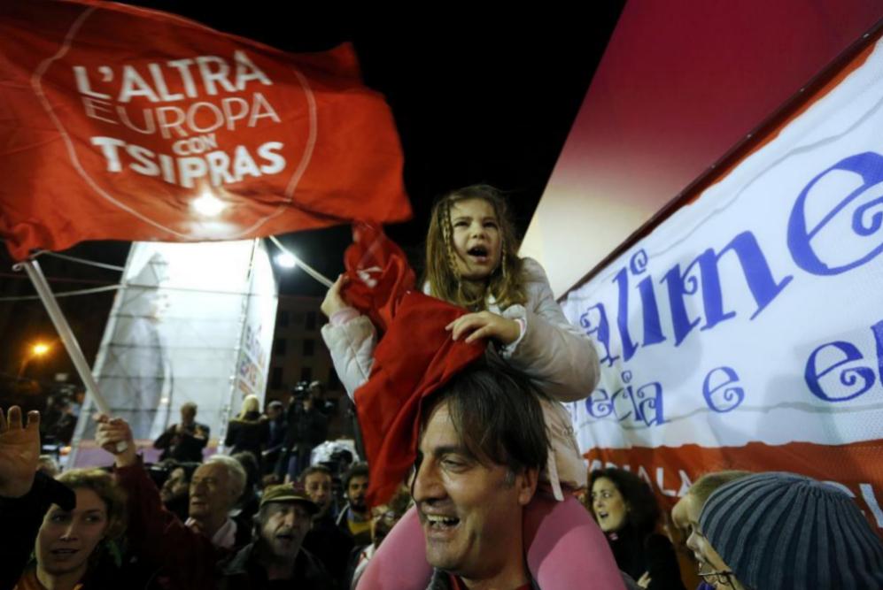 Alegría entre los partidarios de Syriza