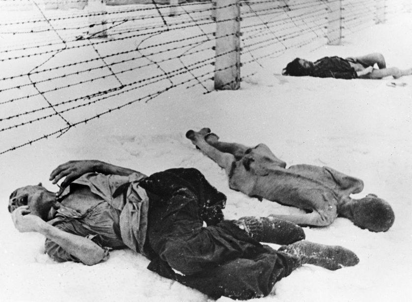 Varios cadáveres yacen en la fría nieve del campo de concentración.