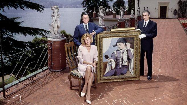 Los Thyssen, en su mansión de Lugano, Villa Favorita, en 1989.