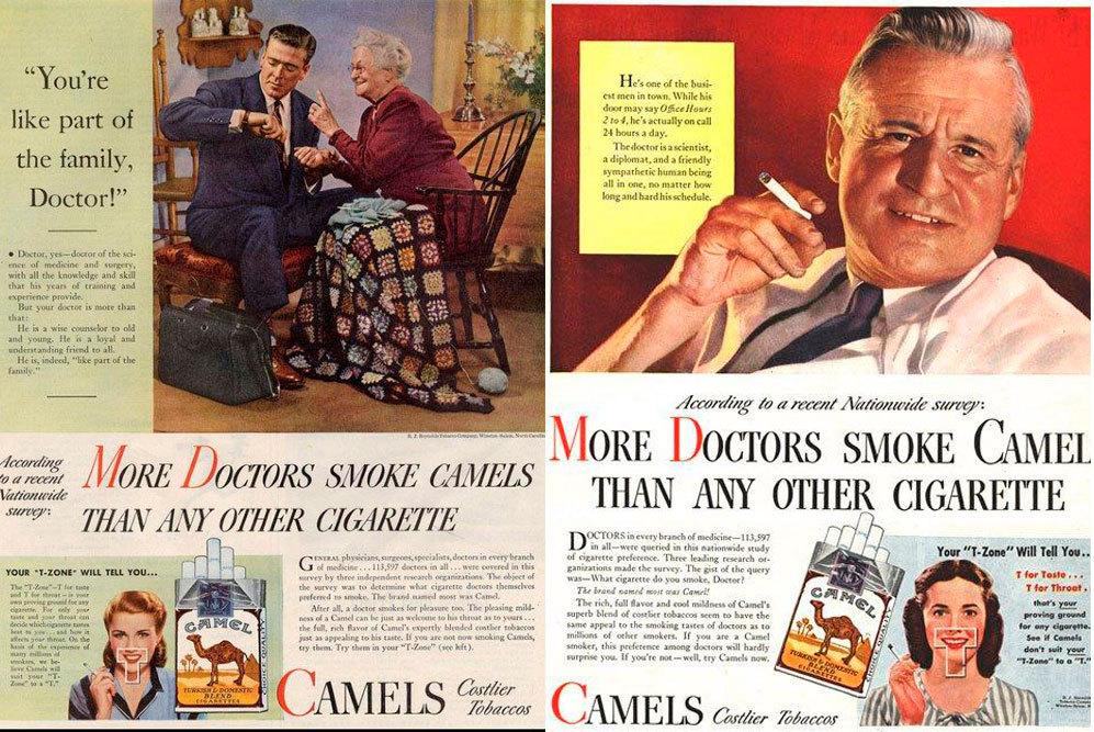 Los doctores, el reclamo de Camels: 'Más médicos fuman Camels antes...