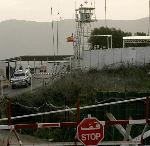 La bandera española ondea en una base de la ONU en el Líbano.