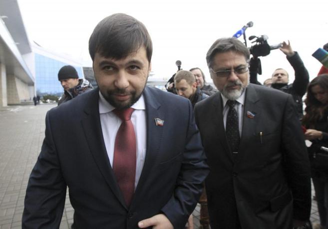 Los negociadores de los separatistas de la república de Donetks,...