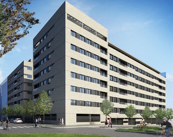 Imagen del exterior de la promoción de viviendas de ACR en...