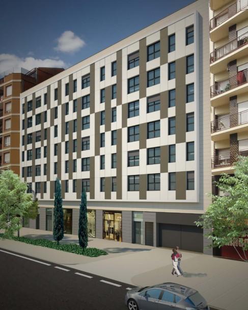 Recreación del aspecto exterior de la promoción de viviendas.