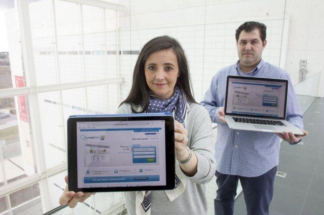 Los socios fundadores de Consultaclick , Ester Lindoso y Sergio Ramos.