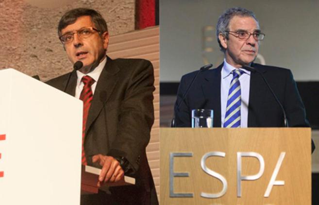 El presidente de Vodafone, Francisco Román y el de Telefónica,...