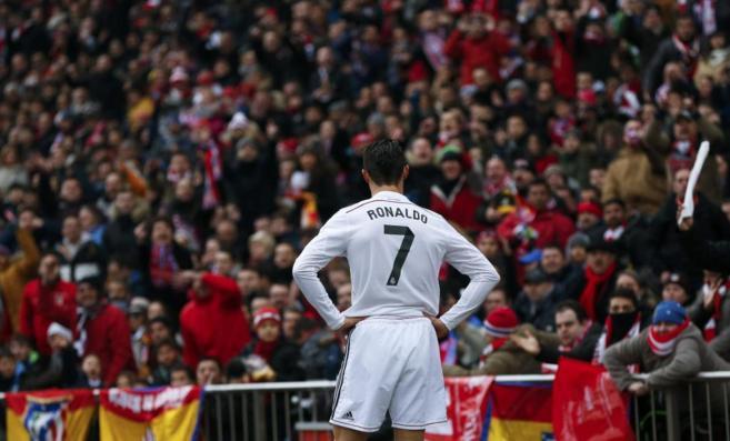 Cristiano Ronaldo, durante un instante del partido contra el Atlético...