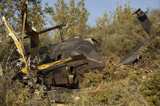 Estadio en el que quedó el helicóptero tras el accidente.