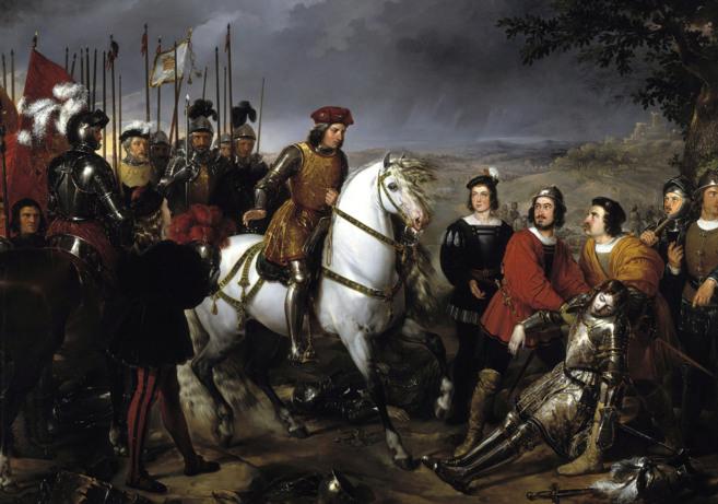 El Gran Capitán recorriendo el campo de la Batalla de Ceriñola.