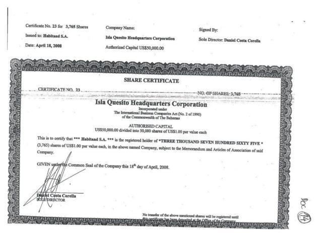 Acta de constitución de la sociedad de Oleguer Pujol en Bahamas.