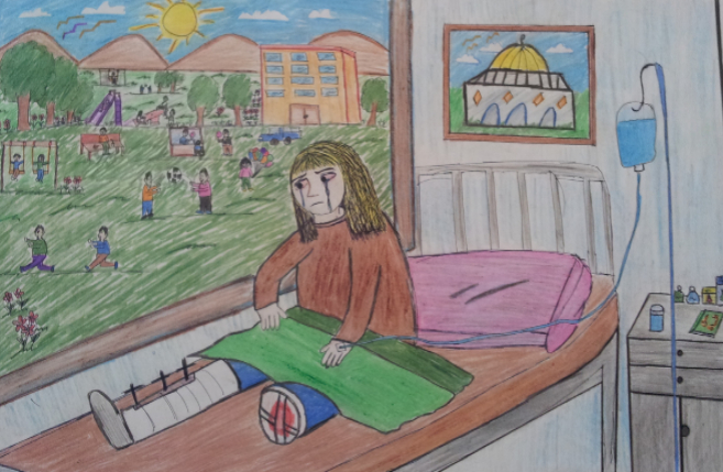Un dibujo de uno de los menores que participó en el concurso en Gaza.