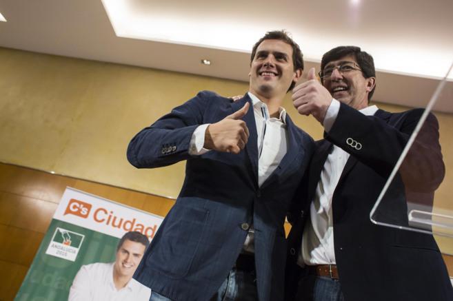 Albert Rivera junto al candidato a la Presidencia de la Junta...