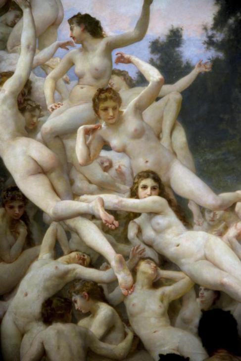 Imagen detallada del cuadro 'Las oréades' de W. Bouguereau.