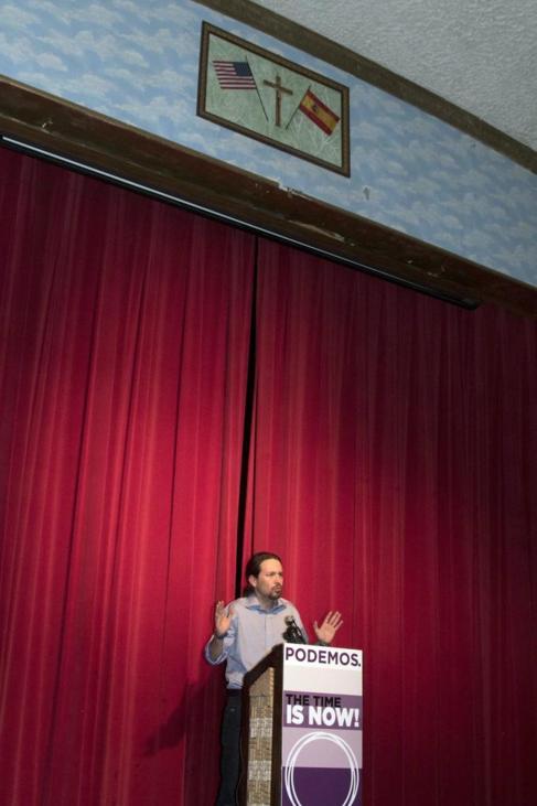 Pablo Iglesias, durante su discurso en Queens.